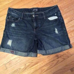 Apt.9 factory distressed jean shorts.